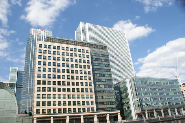 View of buildings in Canary Wharf from South Quay #4