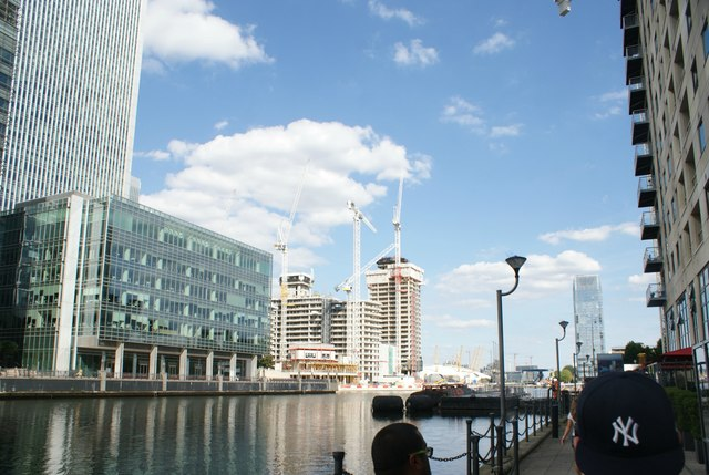 View of a new building under construction in Canary Wharf from South Quay