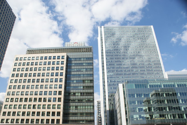 View of the Citibank and other buildings in Canary Wharf from South Quay