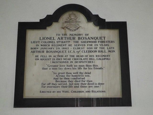 Memorial to Lionel Arthur Bosenquet