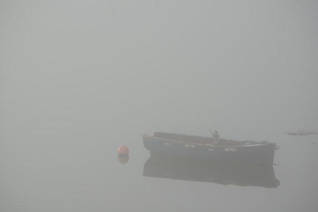Boat in the mist - Hooe Lake
