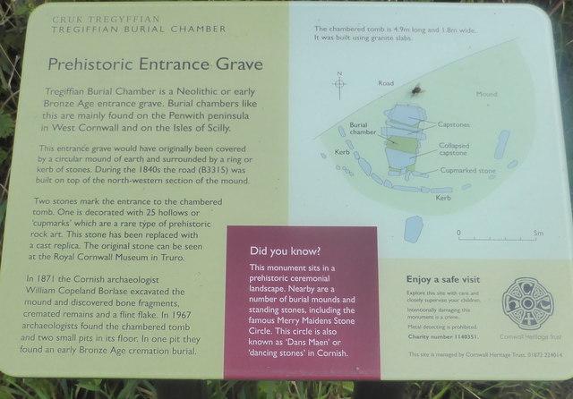 Information panel at Tregiffian Burial Chamber