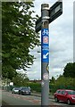 SJ9322 : Signpost with waymarkers, Fairway, Stafford by Alan Murray-Rust