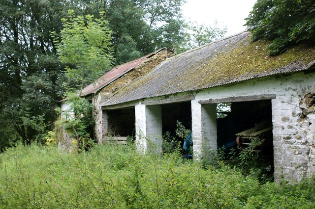 Derelict outbuildings at Brimaston Hall