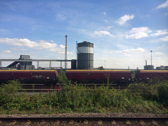 British Steel plant Scunthorpe from the railway