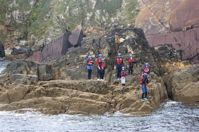 Coasteering group at Trwyn Cynddeiriog