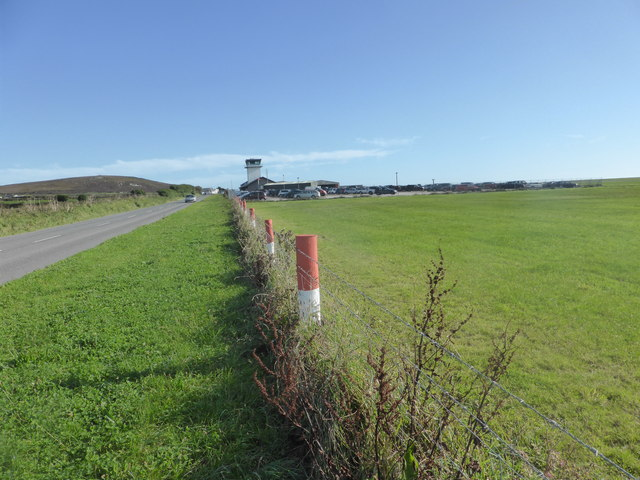 Looking towards the Airport buildings by the B3306