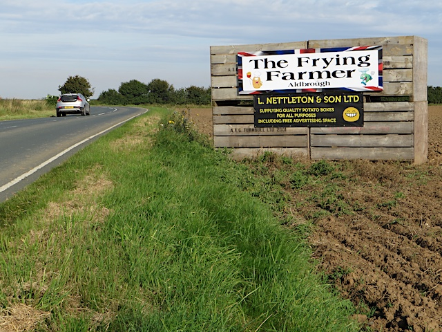 Advertising on the box, near Hilston