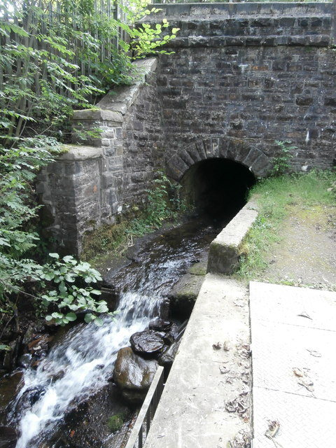 The Nant Twynyrharris flowing under the railway bridge, Twyn Rd