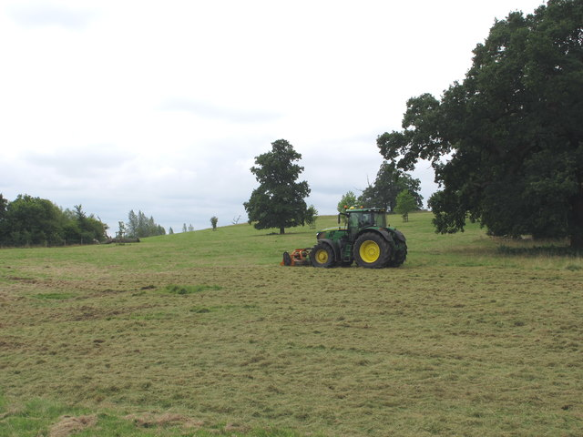 Tractor mowing in Thame Park