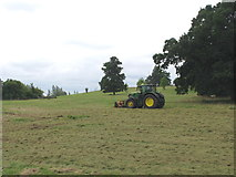 SP7103 : Tractor mowing in Thame Park by David Hawgood