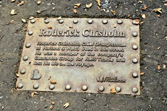 Roderick Chisholm (Titanic plaque), Belfast (August 2017)