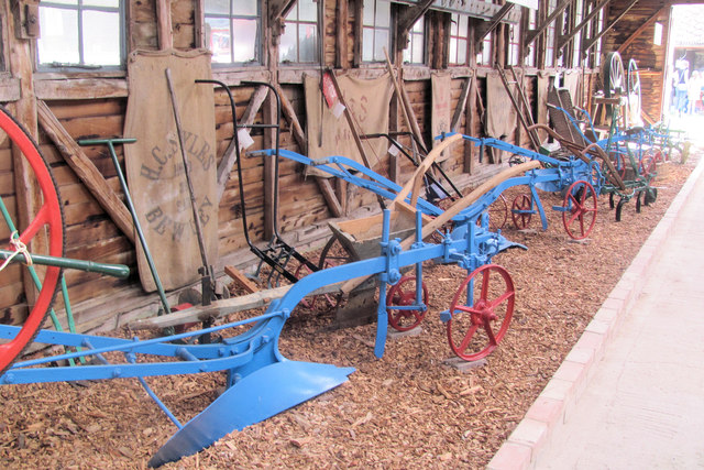 Ploughs in Owen's Barn, Pitstone Green Museum
