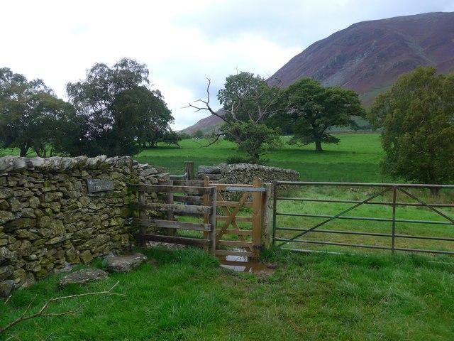 Stile on the path to Lanthwaite Green farm