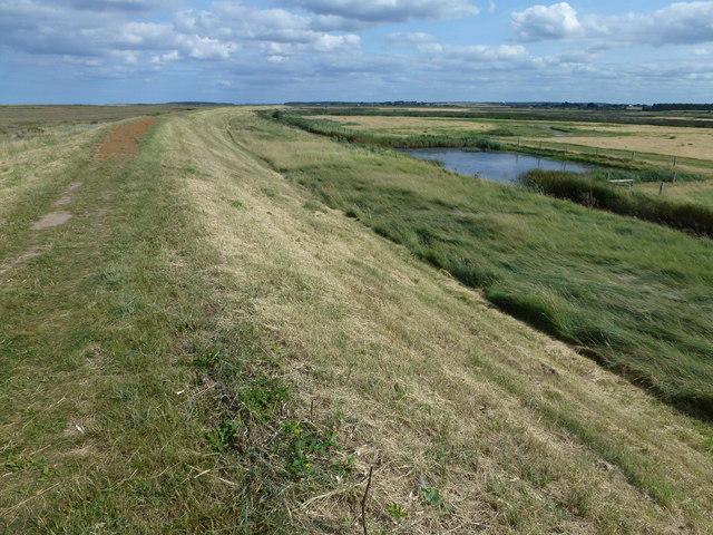 Sea bank on Deepdale Marsh on the Norfolk coast