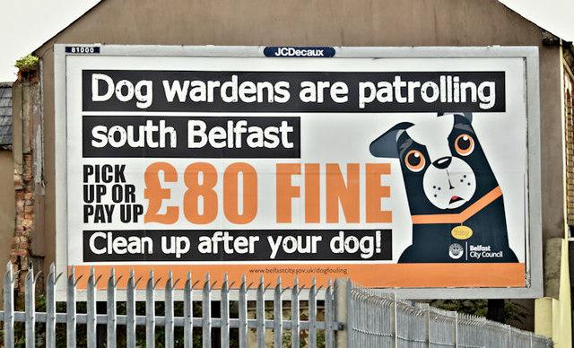 """Dog wardens"" poster, Belfast (August 2017)"