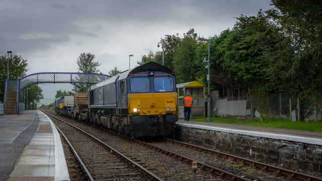 Spent nuclear fuel train waiting at Brora for the northbound for Wick
