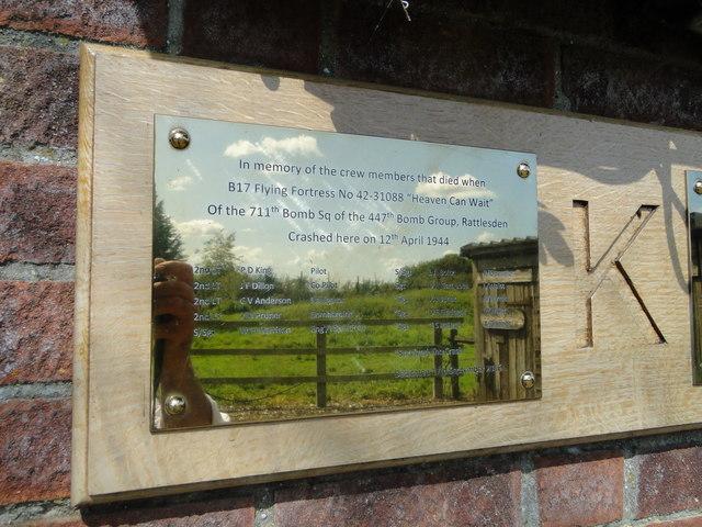 B17 Crash site plaque #2