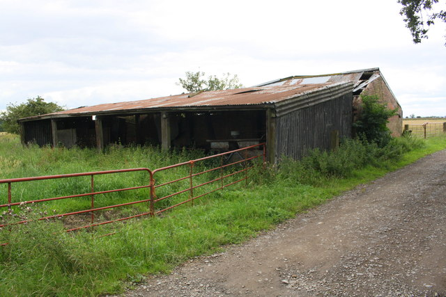 Old barns beside track to Firtree Farm