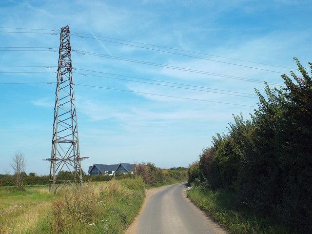 Pylon by East Hall Lane, near Wennington