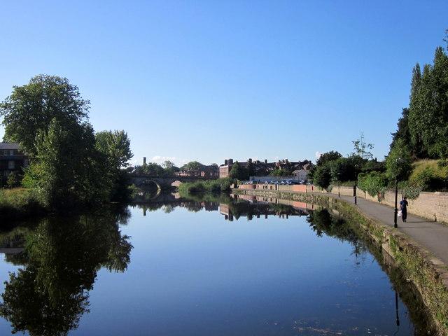 Shrewsbury River Severn Looking Towards English Bridge