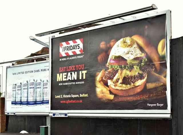Burger poster, Belfast (September 2017)