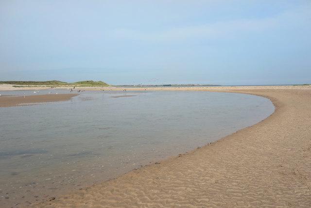 The Brunton Burn sweeps across the sand
