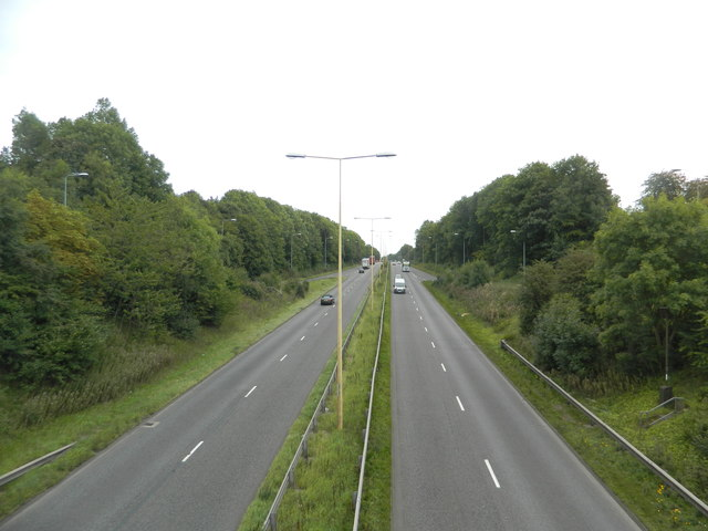 The A50 at its junction with the B5029