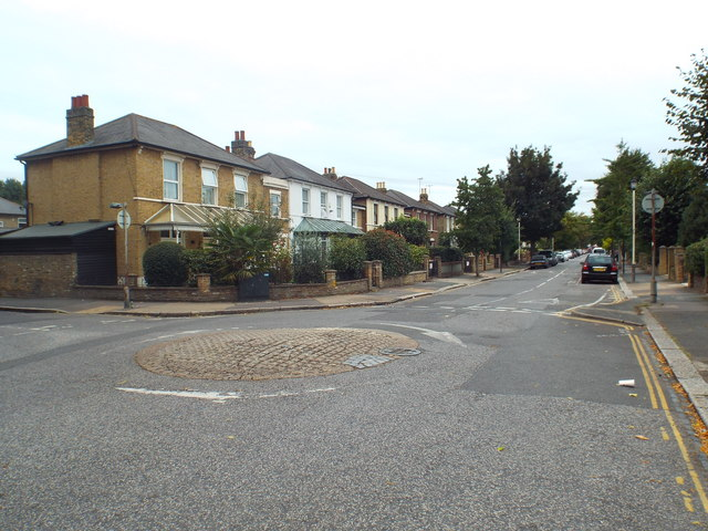 Mini-roundabout on Hampton Road, Forest Gate