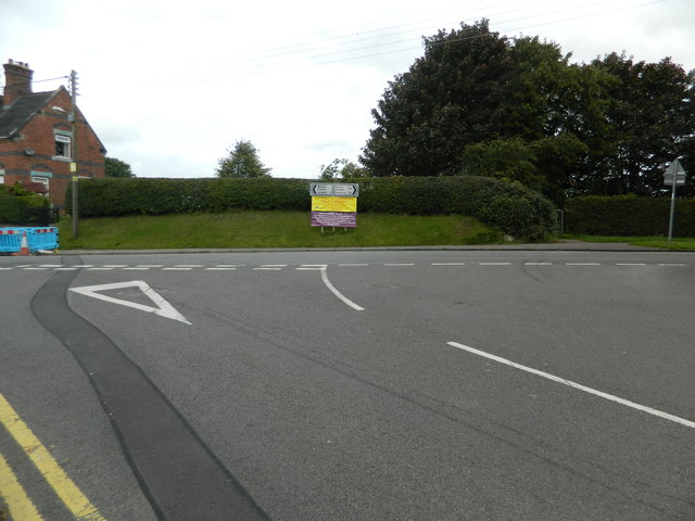 Junction of School Lane and The Dams, Caverswall