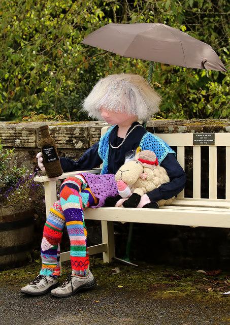 Yarn bombing at Ettrickbridge