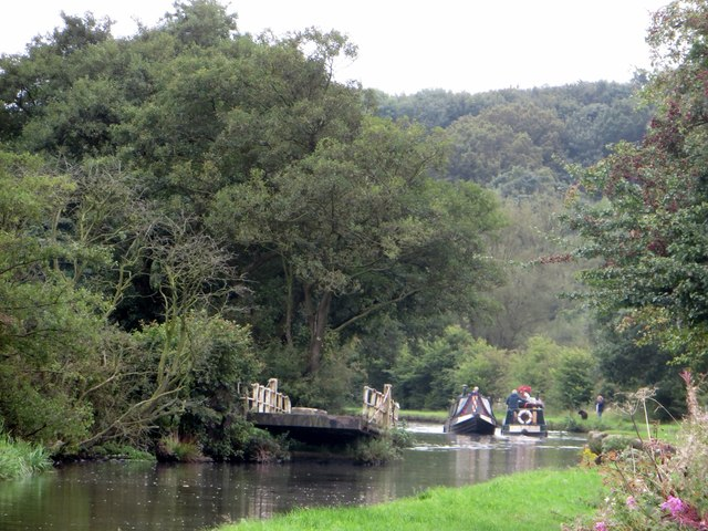 Narrow boats passing on the Leeds and Liverpool Canal