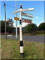 SJ6776 : Fingerpost at Lane Ends, Higher Marston by John S Turner