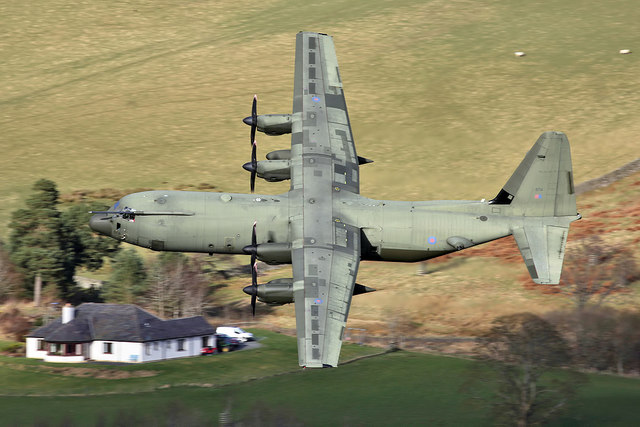 An RAF Hercules in the Yarrow Valley