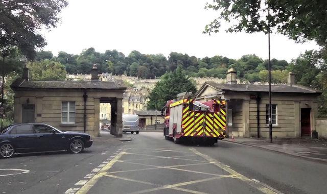 Fire engine on Cleveland Bridge Bath