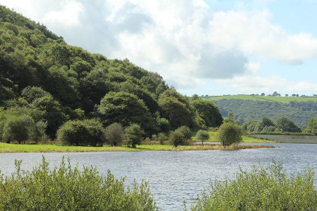 A headland on the Cwm Rheidol reservoir