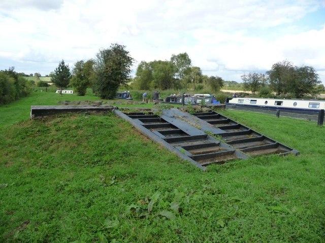 Lock gates on display, below Hillmorton Locks