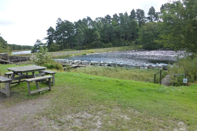 Boats, dam and spillway on Sweethope Loughs
