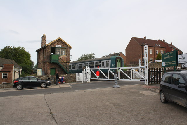 Level crossing and signal box near Bedale Railway Station