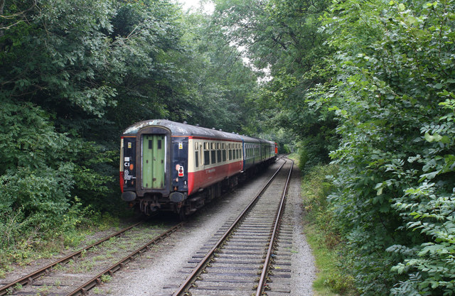 Passing loop on the Wensleydale Railway heritage line, Croft Wood #3