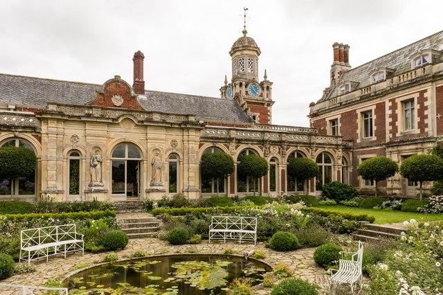 Sunken garden and clock tower, Somerleyton Hall