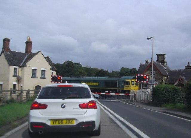 Freightliner train crossing at Onibury