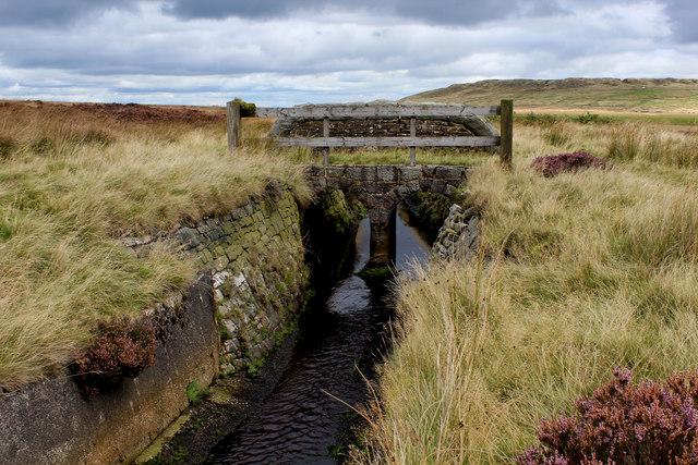 Stone Bridge over the Catchwater Drain on Midgley Moor