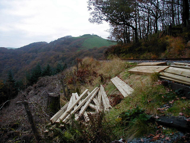 Timbers placed ready for the construction of the new Ty'n-y-castell foot crossing