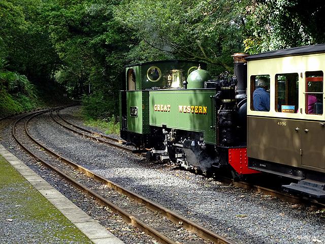 No 1213 waits to cross a 'down' train at Aberffrwd