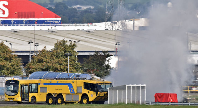 Airport fire brigade exercise, Belfast City Airport (September 2017)