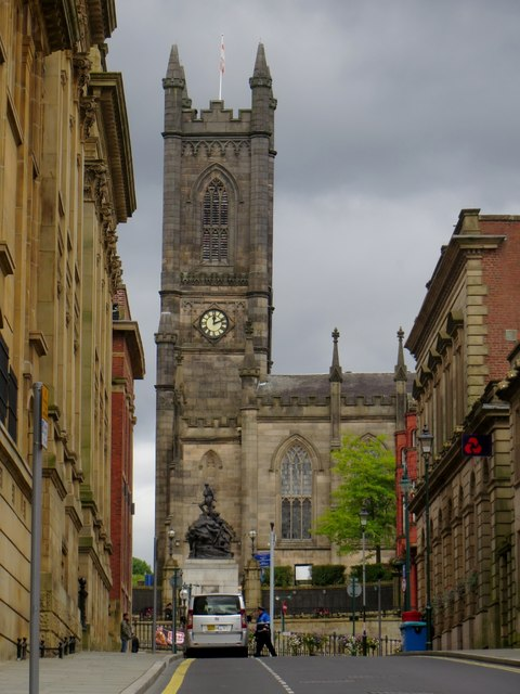 Looking from Firth Street towards Oldham parish church