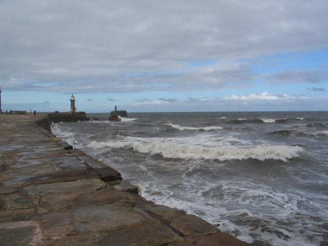 Choppy seas by East Pier