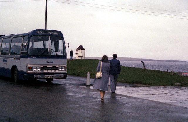A Highland coach at John o' Groats - 1982