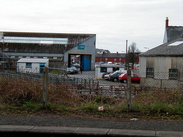 The Arriva bus garage, Aberystwyth in 2001